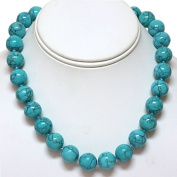 "16"" Round 15mm Green Turquoise Howlite Necklace With Clasp"