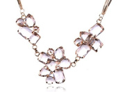 Gold Tone Triple Strand Ice Cube Chunky Iceberg Faceted Crystal Gem Necklace