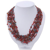 Red/Amber/Light Blue Multistrand Glass Bead Necklace - 48cm Length