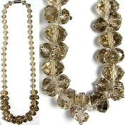 Champagne Coloured Graduated Faceted Crystal Necklace