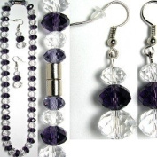 Black & Clear Crystal Necklace & Earrings
