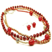 Red and Gold Beaded Multistrand 45.7cm Necklace Set