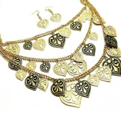 Multistrand 45.7cm Black and Gold Heart Charm Necklace Set