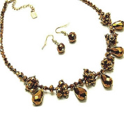 Bevelled Metallic Gold Bead 45.7cm Necklace and Earring Set