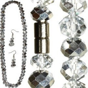 Silver & Clear Faceted Crystal Necklace & Earrings