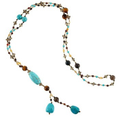 Genuine Turquoise Gemstones and Crystal Beaded Y Drop Long Necklace, 70cm