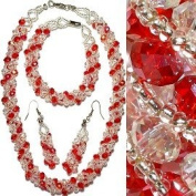 Red & Clear Crystal With Aura Borealis Highlights Twist Necklace Set - Includes Necklace, Bracelet & French Hook Earrings