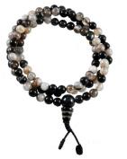 Premium Quality 7mm Tibetan Agate Prayer Beads, Tibetan Mala for Meditation, #13
