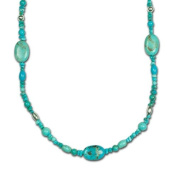 Sterling Silver Kingman Turquoise Long Beaded Station Necklace - 91.4cm
