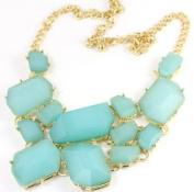 Green Chunky Chain Resin Geometry Drop Golden Choker Bib Necklace