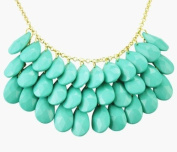 Turquoise three layers Statement Jewellery, Bib Necklace, Drop Shape Necklace, Chunky Necklace