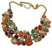 Women Fashion New multicolour Resin Rhinestone Drop Bubble Choker Necklace