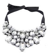 Wiipu clean Statement Rhinestone Crystal Black Ribbon Chain Bib Collar Necklace