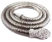 Steampunk Reptile Jewellery Chunky Long Chain Rhinestone Snake Choker Necklace