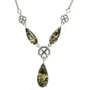 Rhodium Plated Sterling Silver Green Amber Y Necklace 48.3cm