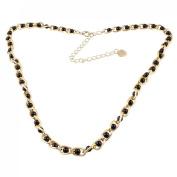Rosallini Ladies Gold Tone Metallic Dangling Heart Black Faux Pearl Decor Curbchain Waist Chain
