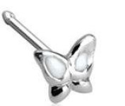 Body Accentz 20GA .925 Sterling Silver Nose Stud with 3mm Butterfly with Epoxy Coloured Wings