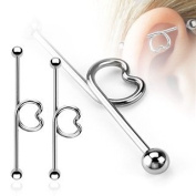 316L Surgical Steel Heart Loop Industrial Bar Barbell 3.2cm Body Accentz jewellery sold individually