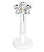 Body Accentz Flower Multi Press-Fit CZ Gems Bio-Flex Shaft Labret Monroe 16G 1cm body jewellery piercing lip chin tragus targus Ring