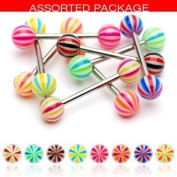 Body Accentz. 8 Flexible Multi Colour Beachball Acrylic Tongue Ring 14g - In Assorted Colours