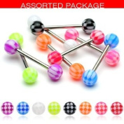 Body Accentz. 8 Checker Acrylic Tongue Ring 14g - In Assorted Colours
