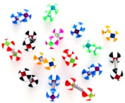 Body Accentz. 8 Cross Stripe Acrylic Tongue Ring 14g - In Assorted Colours