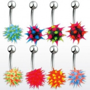 Body Accentz. Body Colours Belly Button Ring Lot of 4 Koosh Ball Navel Ring 14g