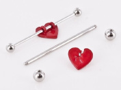 316L Surgical Broken Heart 14g 3.8cm Industrial bar Ear Barbell Piercing Jewellery Body Accentz jewellery sold individually