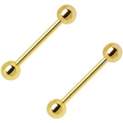 2pcs Gold Plated Anodized Titanium Tongue Ring 14G 5/8""