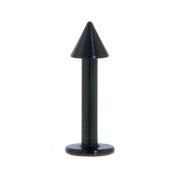 Spike Labret 14G Piercing 14G (Lip Stud) Black Labret 14 Gauge Titanium Anodized (1.2mm) - 1 Piece