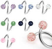Body Colorz. Lot of 7 Ultra Sparkle Spiral Twister Belly Navel Body Jewellery Piercing Bar Ring 14g