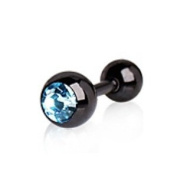 Black Titanium Barbell w/Aqua CZ Gem Tragus Cartilage Earring Anodized Piercing Bar 16G 0.6cm
