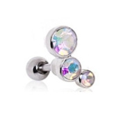 3 AB Round CZ Gems Barbell Tragus Cartilage Ring Steel Aurora Borealis Piercing Bar 16G 0.6cm