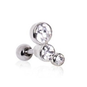 3 Clear Round CZ Gems Barbell Tragus Cartilage Ring Steel Piercing Bar 16G 0.6cm