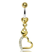 316L Surgical Steel Gold Plated Heart Belly Ring with 2 Heart Gem Pave Dangle - 14G - 1cm Bar Length - Sold Individually