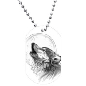 Black and White Howling Wolf Dog Tag Necklace