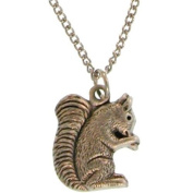 Squirrel Necklace In Burnished Silver