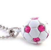 White Hot Pink Soccer Foot Ball Sports Pendant Necklace Fuchsia Pink Stone Spot Sports Fashion Jewellery