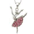 Light Pink Dancing Ballerina Dancer Dance Pendant Necklace Charm Silver Tone Designer Women Teens Girls Ballet Jewellery