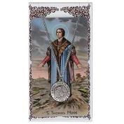 St Thomas More Prayer Card With Medal Catholic Christian Pendant Charm Patron Saint