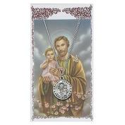 St Joseph Prayer Card With Medal Christian Pendant Charm Patron Saint Catholic