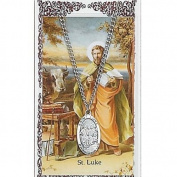 St Luke Prayer Card With Medal Saint Catholic Christian Pendant Charm Patron