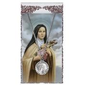 St Therese Prayer Card With Medal Patron Saint Catholic Christian Pendant Charm