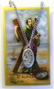 St Andrew Prayer Card With Medal Pendant Charm Patron Saint Catholic Christian