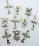 Rosary Repair Kit Divine Mercy Sacred Heart Centrepiece Silver Plate Cross Crucifix Lot 5 Each