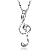 White Gold Plated Necklace Nice Charm Music Pendant Chain Wedding Jewellery 049