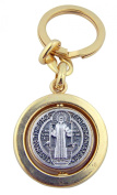 Catholic Gift Tu Tone Silver Gold Plate Revolving Saint St Benedict Medal Travel Protection Keyring