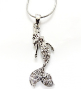 Silvertone Mermaid Pendant Necklace Clear Crystals in a Gift Box