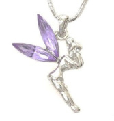 Beautiful Purple Tinkerbell Fairy Pendant Necklace Silver Plated Fashion Jewellery Gift Boxed