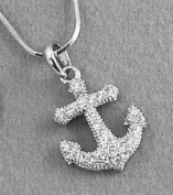Silver Tone Clear Crystals Anchor Charm Pendant Necklace Rhodium Plated Gift Boxed